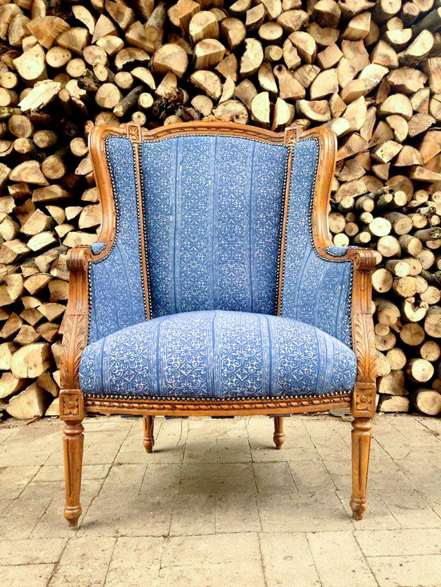 Blue and white Hmong textile chair