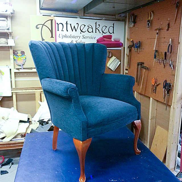 Blue channel back chair