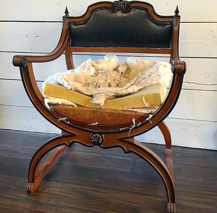 Before Picture of Cowhide chair